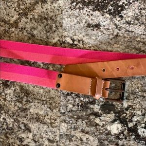Pink and brown leather belt
